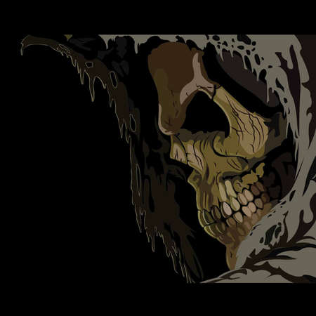 Death skull in hood  Horror vector illustration Illustration