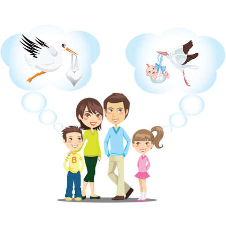 childbirth: Family  Stork and baby  childbirth concept design  Illustration