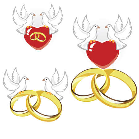 Wedding rings, hearts and doves Stock Illustratie