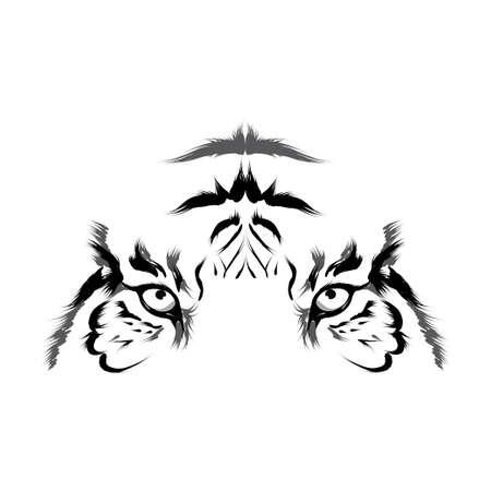 puma: Tiger head contorno vettoriale Vettoriali