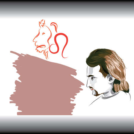 zodiacal: Leo the lion star or birth sign with man Illustration
