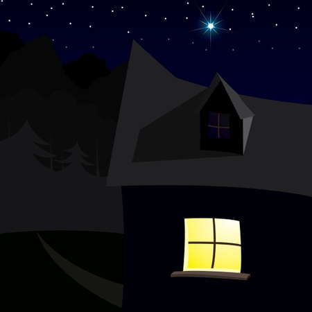House over night sky with bright stars Vector