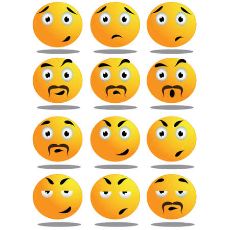 facial painting: Set of yellow round expressive emoticons on white background