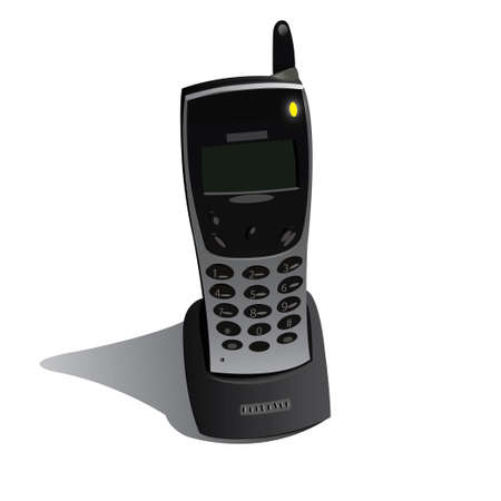 cordless phone: Realistic wireless black phone  Vector