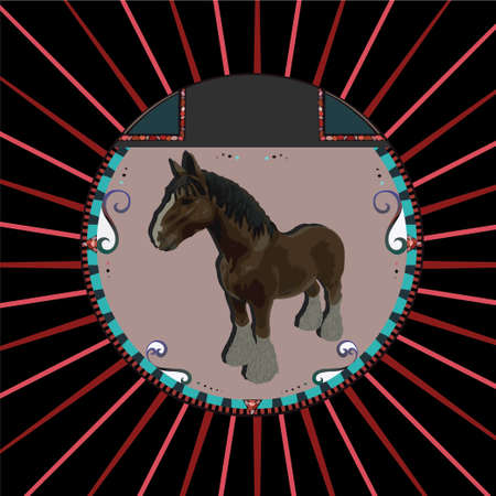 Abstract Brown horse in circle Vector