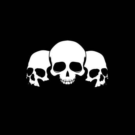 grunge skull: Three sculls
