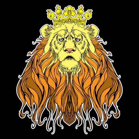 chieftain: Immagine di leone coronato su nero Vettoriali