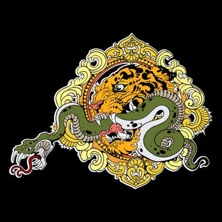 silueta tigre: Gran cabeza de tigre con la serpiente en negro