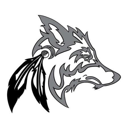 部族のオオカミの頭  イラスト・ベクター素材