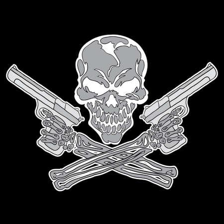 Smiling skull with guns Vector