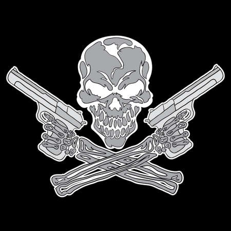 gangster with gun: Smiling skull with guns