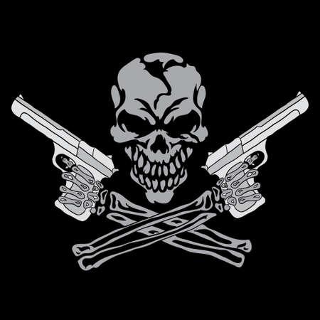 gangster with gun: Cr�neo sonriente con armas de fuego Vectores