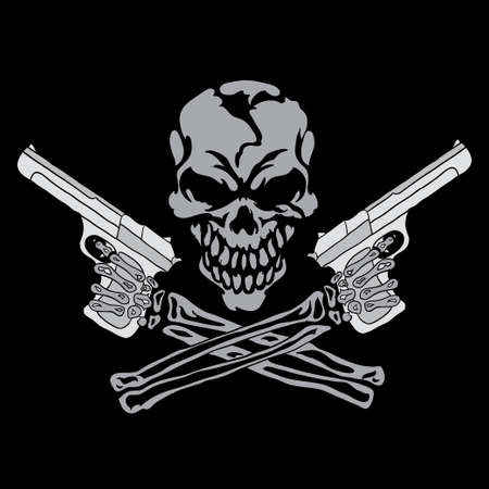 pirate banner: Smiling skull with guns
