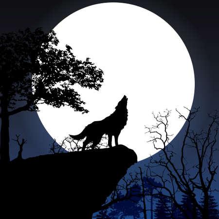 Grita a la luna llena Ilustración de vector