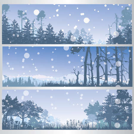 Set of winter forest banners Çizim