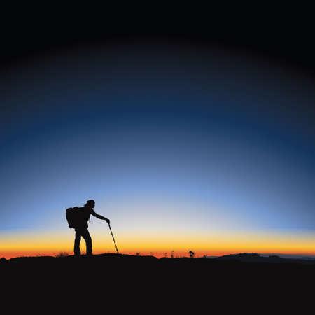 Vector illustration of beautiful majestic sunrise  and hiking man