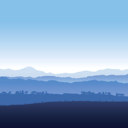 Vector illustration landscape of mountains in fog