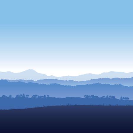 Vector illustration landscape of mountains in fog