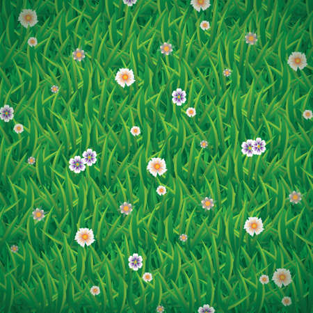 Vector illustration of green grass background with cute flowers