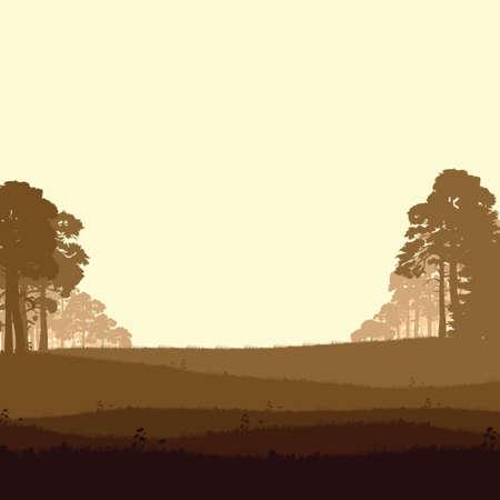 Panorama of wild coniferous forest Stock Illustratie