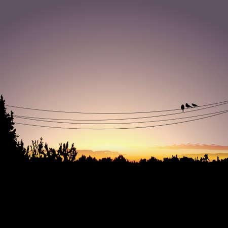 Nature sunset background Stock Illustratie