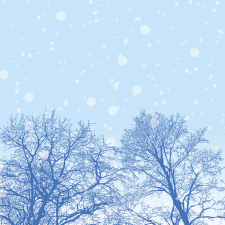 Vector illustration of snowy winter forest with trees