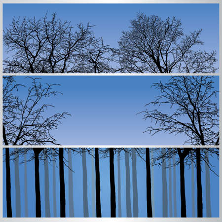 Set of winter forest banners. Vector illustration
