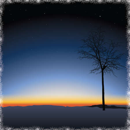 Lonely tree on Nature sunset background Illustration