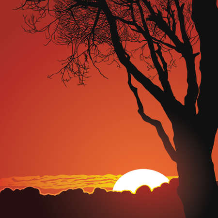 Beautiful sunset in mountains. Natural background Illustration