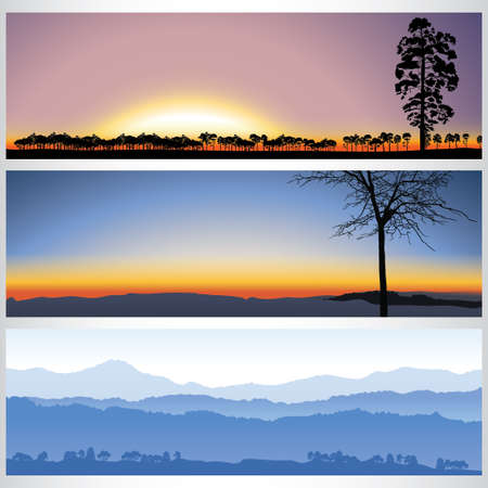 Set of nature forest banners. Vector illustration