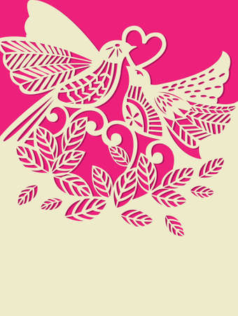 Pink valentine card with birds, leaves and heart. vector illustration