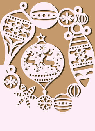 Christmas card with christmas balls and ornaments. vector illustration Ilustrace