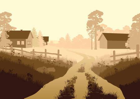 illustration of a rural landscape