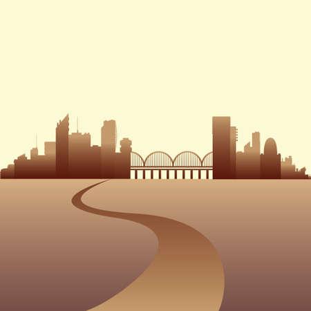 City skyline vector illustration. Urban landscape Illustration
