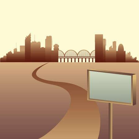 City skyline vector illustration. Urban landscape Stock Photo