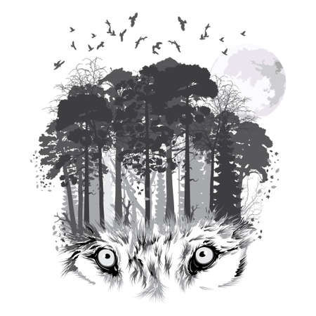 Wolf silhouette on forest background. Vector illustration Illustration