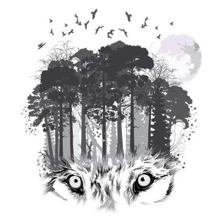 Wolf silhouette on forest background. Vector illustration Stock Illustratie