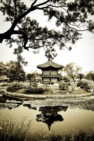 A chinese pagoda in a beautiful park in the city of Seoul, Korea