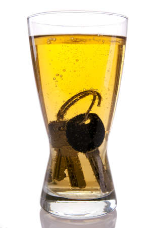 drink and drive: Concept of Drinking and Driving, beer and car keys Stock Photo