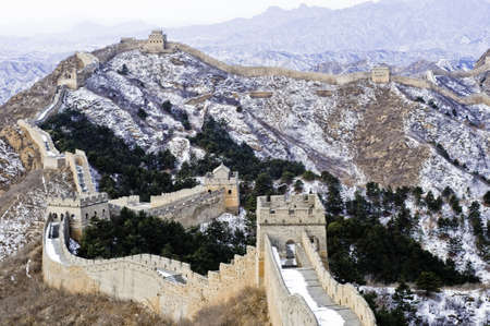 great wall of china during the winter near beijing
