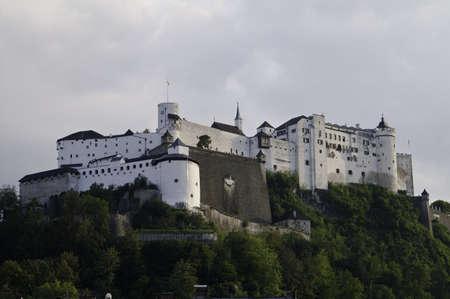 Salzburg Castle on a cloday day in Austria. Editorial