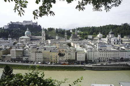 The historic city of Salzburg with the castle in the background Stock Photo - 10827996
