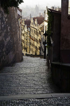 Early morning sunrise from a stairway in prague Stock Photo - 10827975