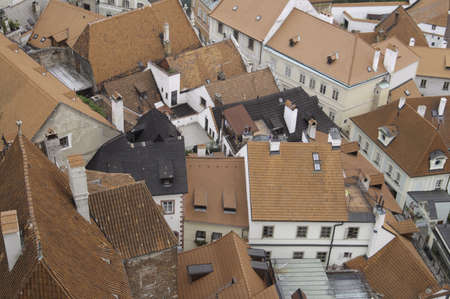 Looking over the rooftops of the historic city of Cesky krumlov, Czech Republic Stock Photo - 10827755