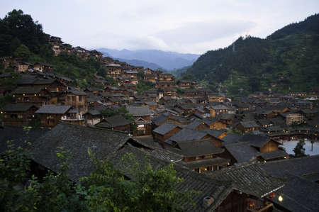 A old miao chinese village with tradtional style houses Editorial