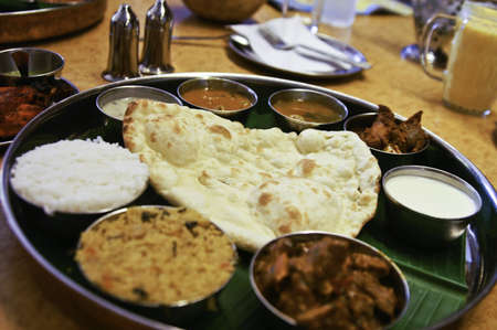 A traditional indian platter of various food