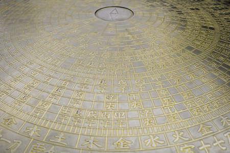 Una esfera de bronce china del zodiaco en un templo budista