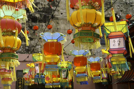 Colorful Chinese Lanterns hung outside a buddhist temple around New Years