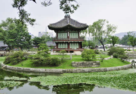 A chinese style pagoda in a buddhist garden in Seoul, Korea