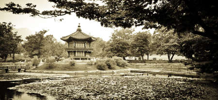 south korea: Chinese Architecture in a garden park in Seoul